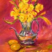 Daffodils And Teapot Poster
