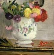 Dahlias Poster by Berthe Morisot