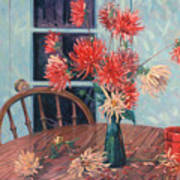 Dahlias With Red Cup Poster