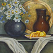Daisy Stillife With Oranges Poster