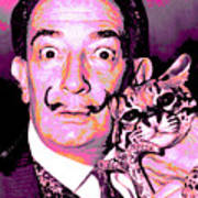 Dali With Ocelot And Cane Poster