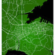 Dalian Street Map - Dalian China Road Map Art On Green Backgro Poster