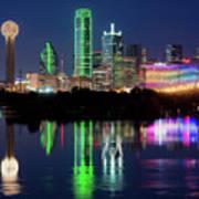 Dallas Skyline Reflection 91317 Poster
