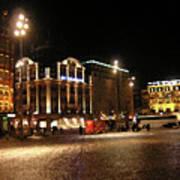 Dam Square Late Night - Amsterdam Poster