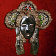 Dan Dean-gle Mask Of The Ivory Coast And Liberia On Red Velvet Poster by Serge Averbukh