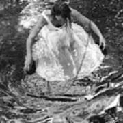 Dancer In White Dress In Shallow Water Poster