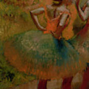 Dancers Wearing Green Skirts Poster by Edgar Degas