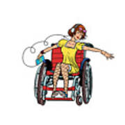 Dancing Girl In A Wheelchair Poster