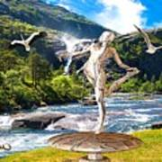 Dancing Statue Near The Waterfall Poster