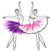 Dancing Tutus In Purple And Pink Poster
