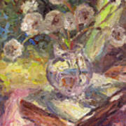 Dandelions Flowers In A Vase Sunny Still Life Painting Poster