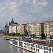 Danube Riverside With Old Buildings Budapest Hungary Poster