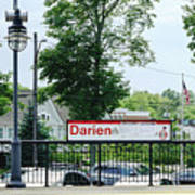 Darien Train Station Sign Poster
