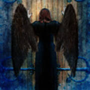 Dark Angel At Church Doors Poster