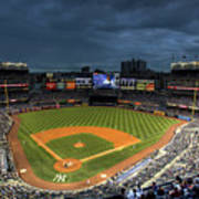 Dark Clouds Over Yankee Stadium  Poster by Shawn Everhart