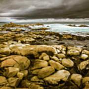 Dark Skies On Ocean Shores Poster