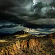 Dark Storm Clouds Over Cliffs Poster