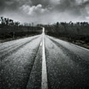 Dark Stormy Road To Cradle Mountain In Tasmania Poster