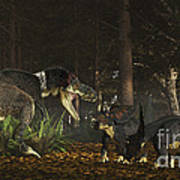 Daspletosaurus Confronts A Family Poster