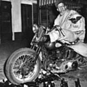 Dave On A Harley Tulare Raiders Mc Hollister Calif. July 4 1947 Poster