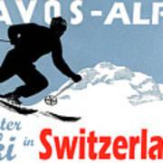 Davos, Alps, Mountains, Switzerland, Winter, Ski, Sport Poster
