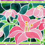 Day Lilies In Stained Glass Poster