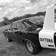 Daytona Charger In Black And White Poster