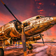Dc-3 In Surreal Evening Light Poster