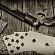 Dead Mans Hand Black And White Poster