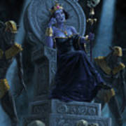 Death Queen On Throne With Skulls Poster