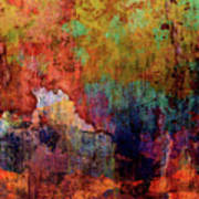 Decadent Urban Red Wall Grunge Abstract Poster