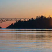 Deception Pass Bridge Sunset Sunstar Poster