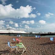 Deckchairs On Brighton Beach Poster