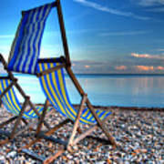 Deckchairs On The Shingle Poster