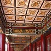 Decorated Columned Hall Of A Chinese Temple Poster