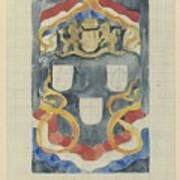 Decorative Design With The National Coat Of Arms, Flags And Banners, Carel Adolph Lion Cachet, 1874  Poster