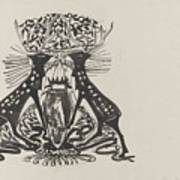 Decorative Design With Two Standing Deer, Carel Adolph Lion Cachet, 1874 - 1945 Poster