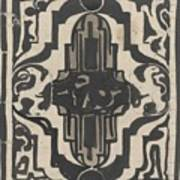 Decorative Design With Two Stylized Lions, Carel Adolph Lion Cachet, 1874 - 1945 Poster