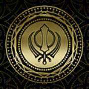 Decorative Khanda Symbol Gold On Black Poster