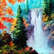 Deep Jungle Waterfall Scene. L A  Poster