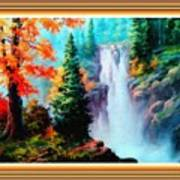 Deep Jungle Waterfall Scene L B With Alt. Decorative Ornate Printed Frame. Poster
