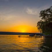 Deep Orange Sunset Over Keuka Lake Poster