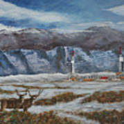Deer And Drilling Rig Poster