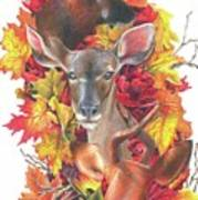 Deer And Fall Leaves Poster