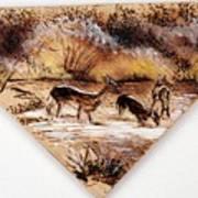 Deer Crossing Two Poster