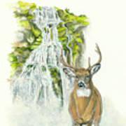 Deer In The Mist Poster