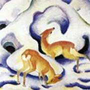 Deer In The Snow 1911 Poster