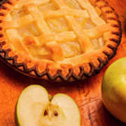 Delicious Apple Pie With Fresh Apples On Table Poster