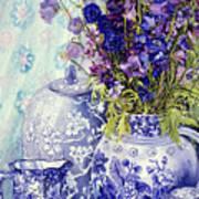 Delphiniums With Antique Blue Pots Poster