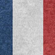 Denim France Flag Illustration Poster